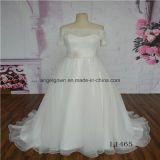 off Shoulder Short Sleeve Organze Wedding Dress