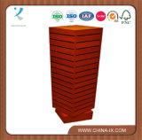 Four Faces Wooden Rotating Slatwall Display Stand
