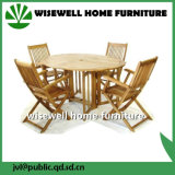 Outdoor Furniture Round Table with Folding Armchair