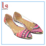 Hot Style Fashion and Comfortable Peacock Grain Transparent Pointed Women Flat Shoes