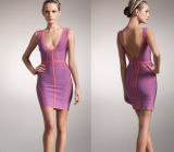 Women′s Sleeveless Strap with Deep V -Neck Backless Brush Bandage Dress