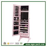 Floor Standing Wooden Mirrored Jewelry Cabinet