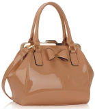 New Fashion Women Handbag Nude Patent Bow Framed Satchel Bag