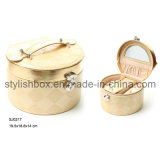 Round Portable Fashion PU Jewelry Beauty Box