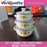 Set 3 Enamel Pot Sunflower Model