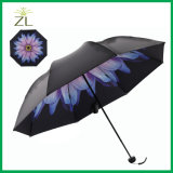 New Items 2017 Hot Selling Advertising 3 Folding Promotion Sale Cheap Cute Rain Umbrella Print Flower Inside