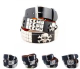 Lady′s Fashion Jeans Belt with Skull/Leaf/Bauty/Scorption Metal Stud