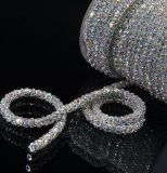 Ss28 6mm 10 Yards Lots Sew on Crystalab Colors Handmade Flower Cup Rhinestone Chain Lace Silver Rhinestone Chain (TC-ss28/6mm)