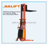 Hot Sale 1.5ton (Lifting Height: 3.5 meter) Semi Electric Stacker (SPN1535) with Ce Certification