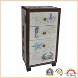 4-Drawer Fabric Accent Marine Print Wooden Chest