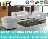 European Antique Furniture Tufted Upholstered Leather 1+2+3 Sofa Set (HC6040)