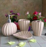 Home Basics 4PCS Ceramic White Bathroom Accessories Set