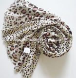 fashion Gold Powder Leopard Printing Polyester Lady Scarf (HWBPS094)