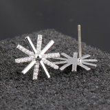 925 Sterling Silver Flower Pin Zircon Snowflake Silver Earrings