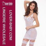 Woman White Underware Mini Dress Sleepwear Chemise (L2102-2)