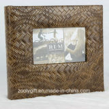 "Book Bound Deluxe Brown Leather Photo Album with 5X7"" Frame Window"