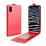 Retro PU Mobile Phone Flip Case for iPhone X-Red
