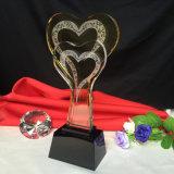 New Design Crystal Glass Heart Shape Trophy