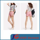 Fashion Pink Colored Ripped Short Jeans for Girls (JC6103)