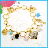 Rhinestones Heart Charm Gold Circle Ring Metal Bracelet #31485