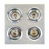 Lathe Aluminum GU10 MR16 Multi-Angle 4 Units Square Recessed Tilt Spotlight (LT2301-4)