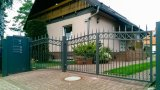 Germany Style Power Coated Wrought Iron Swing Gate / Metal Craft Entrance Gate