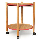 Bamboo Trolley Side Table Serving Table Tea Table