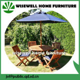 Outdoor Furniture Rectangle Table and Folding Chair with Umbrella
