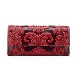 2017 Elegant Design Flowers Emboss Leather Purses Card Wallet