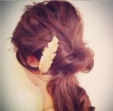 Metal Feather Hair Product Made of Casting in Gold/Anti-Gold