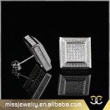 Square Mens 18K Gold CZ Wedding Stud Earrings Mjce028