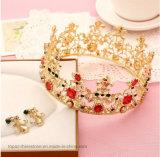 Bride Vintage Crown Rhinestone Crown Hair Ornaments Earrings and Tiara (J03)