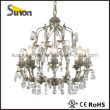Gray Wrought Iron Floral Chandelier Lighting Crystal Chandeliers