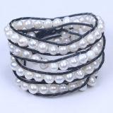 Genuine Leather Wrap Freshwater Pearl Beads Bracelet