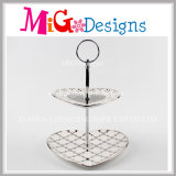 Double Tier Cake Stand Wedding Printing Ceramic Plate