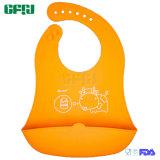 Orange Cattle FDA/LFGB Quick Dry Baby Products Silicone Bib with Catcher