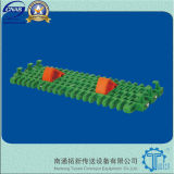 Is615 Radius Flush Grid with Pop-up Flights Plastic Conveyor Belt