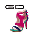 Supply Big Size Buckles Style Colorful High Heel Sandals Shoes Ladies