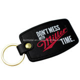 Customized Printing Genuine Leather Gold Keychain