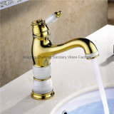 New Design Single Handle Zf-704 Jade Brass Basin Mixer