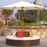 Rattan and Aluminium Lounge Chair with Table and Umbrella (TG-JW06)
