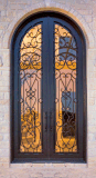 Sz-D029 Tempered Glass Wrought Iron Double Entrance Door