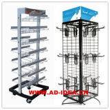 Multifunctional Two Side Wire Metal Display Shelf with Multiple Hooks