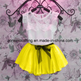 Girls′ Summer 2-Piece Chiffon Dress Children Clothes with Lace on Shoulders
