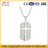 High Quality Engraved Cross Metal Dog Tag with Necklace