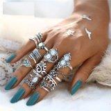 16PCS Knuckle Opal Finger Leaf Flower Heart Crown Ring