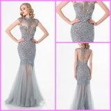 Crystal Party Cocktail Gown Silver Mermaid Sheer Evening Prom Dress Ter1521
