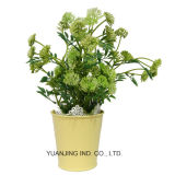 Artificial Flowers with Zinc Pot