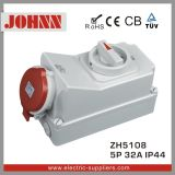 IP44 5p 32A Industrial Socket with Switches and Mechanical Interlock