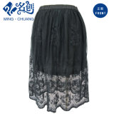Fashion Black Short Skirt with Perspective Mesh Women′s Summer Clothing